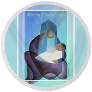 Merry Christmas Virgin Mary And Child  Round Beach Towel