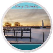 Merry Christmas Winter Marina And Lighthouse Round Beach Towel