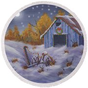 Merry Christmas You Old Barn And Farm Implement Round Beach Towel