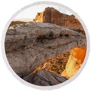 Mesa Arch Sunrise 6 - Canyonlands National Park - Moab Utah Round Beach Towel