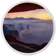 Mesa Mist Round Beach Towel by Chad Dutson