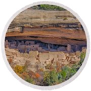 Mesa Verde Cliff Dwelling Round Beach Towel