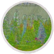 Meshed Tree Abstract Round Beach Towel by Liane Wright