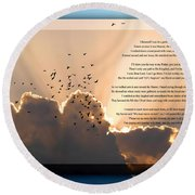 Message From Heaven Round Beach Towel