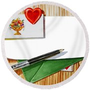 Message From The Heart Round Beach Towel
