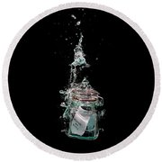 Message In Sinking Bottle Round Beach Towel by Simon Bratt Photography LRPS