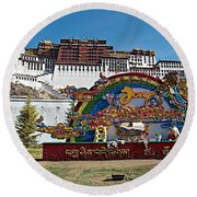 Message Of Joy From Potala Palace In Lhasa-tibet  Round Beach Towel