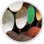 Metal Barrels 1 Round Beach Towel