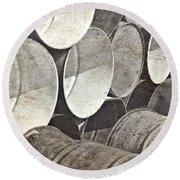 Metal Barrels 1bw Round Beach Towel