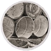 Metal Barrels 2bw Round Beach Towel