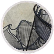 Metal Chair And Shadow 5 Round Beach Towel
