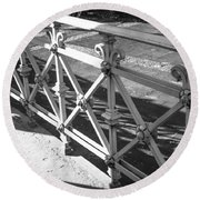 Metal Fence Cologne Germany Round Beach Towel