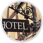 Metal Hotel Sign Round Beach Towel