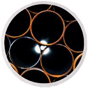 Metal Pipes Round Beach Towel