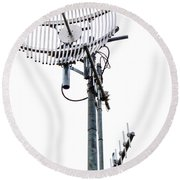 Metal Telecom Tower And Antennas Isolated On White Round Beach Towel