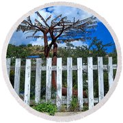 Metal Art Tree Bisbee Round Beach Towel
