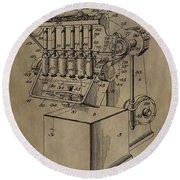 Metal Working Machine Patent Round Beach Towel