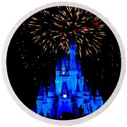 Metallic Castle Round Beach Towel