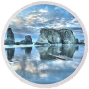 Metallic Cloud Reflections Round Beach Towel