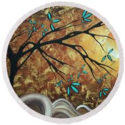 Metallic Gold Textured Original Abstract Landscape Painting Apricot Moon By Madart Round Beach Towel