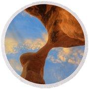 Metate Arch Sunset Round Beach Towel