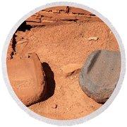Metates At Wupatki Pueblo In Wupatki National Monument Round Beach Towel