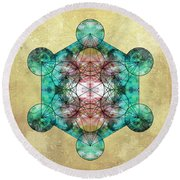Metatron's Cube Round Beach Towel by Filippo B