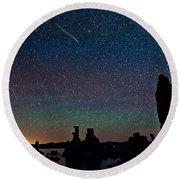 Meteors Over Mono Lake Round Beach Towel