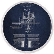 Method Of Drilling Wells Patent From 1906 - Navy Blue Round Beach Towel