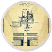Method Of Drilling Wells Patent From 1906 - Vintage Round Beach Towel