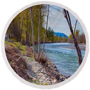 Methow River Coming From Mazama Round Beach Towel by Omaste Witkowski