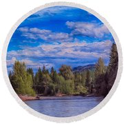 Methow River Crossing Round Beach Towel