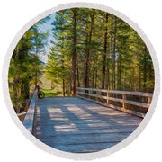 Methow Valley Community Trail At Wolf Creek Bridge Round Beach Towel by Omaste Witkowski