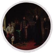 Metropolitan Philip Of Moscow 1507-90 With Tsar Ivan The Terrible 1530-84 Oil On Canvas Round Beach Towel