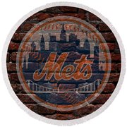 Mets Baseball Graffiti On Brick  Round Beach Towel by Movie Poster Prints