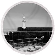 Mevagissey Lighthouse Round Beach Towel