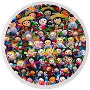 Mexican Dolls Round Beach Towel