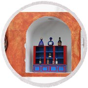 Mexican Facades Round Beach Towel