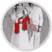 Mexican Revolutionary  Couple In Photo Studio No Location  C.1914-2014 Round Beach Towel