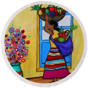 Mexican Street Vendor Round Beach Towel