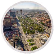 Mexico City Aerial View Round Beach Towel by Jess Kraft