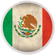 Mexico Flag Vintage Distressed Finish Round Beach Towel