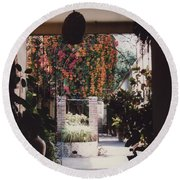 Mexico Garden Patio By Tom Ray Round Beach Towel