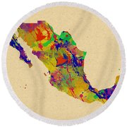 Mexico Map Watercolor Round Beach Towel