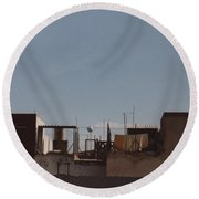 Mexico Rooftop By Tom Ray Round Beach Towel