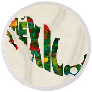 Mexico Typographic Watercolor Map Round Beach Towel