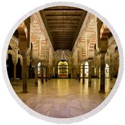 Mezquita Interior In Cordoba Round Beach Towel