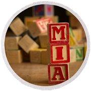 Mia - Alphabet Blocks Round Beach Towel