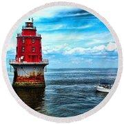 Miah Maull Shoal Lighthouse Round Beach Towel