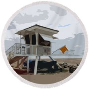 Miami Beach Lifeguard Station II Abstract Round Beach Towel